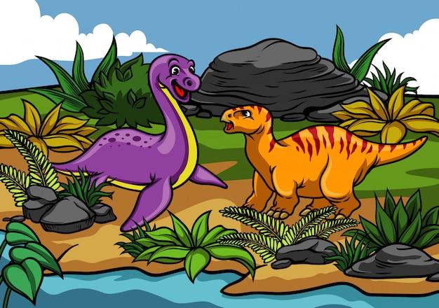 Feliz dinosaurio de dibujos animados en la naturaleza
