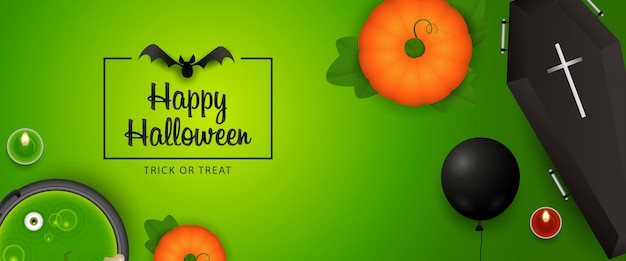 Feliz diseño de banner de halloween con calabaza, ataúd, murciélago, poción
