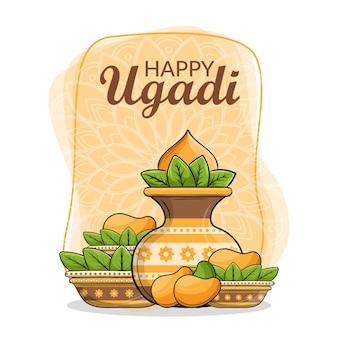 Feliz diseño de concepto de ugadi