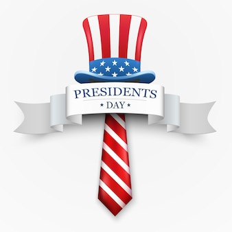 Feliz diseño del día del presidente con sombrero y corbata del tío sam