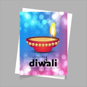 Feliz diseño de folleto diwali con estilo único