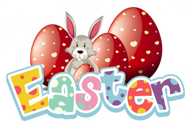 Feliz diseño de fuente de pascua con conejito de pascua y huevos