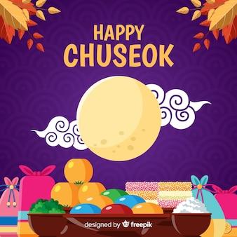 Feliz diseño plano chuseok con luna llena