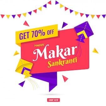 Feliz diseño de póster de venta de makar sankranti con 70% de descuento en la oferta.