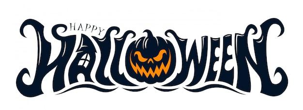 Feliz diseño de texto de halloween