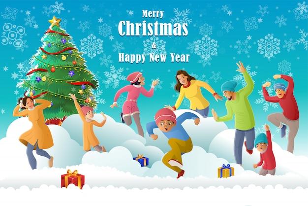 Feliz diversión familiar en temporada de invierno y celebrando la navidad