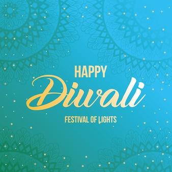 Feliz diwali en azul con diseño de fondo de mandalas, tema del festival de las luces.