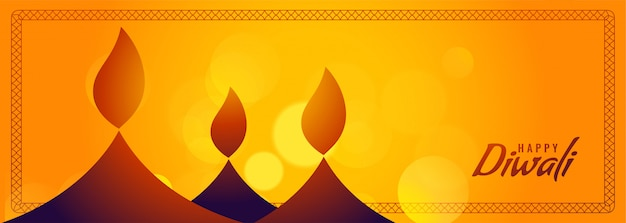 Feliz diwali banner amarillo con diya creativo