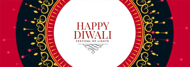 Feliz diwali banner decorativo étnico indio