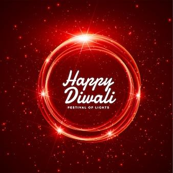 Feliz diwali brillante diseño de tarjeta de felicitación roja de fuegos artificiales