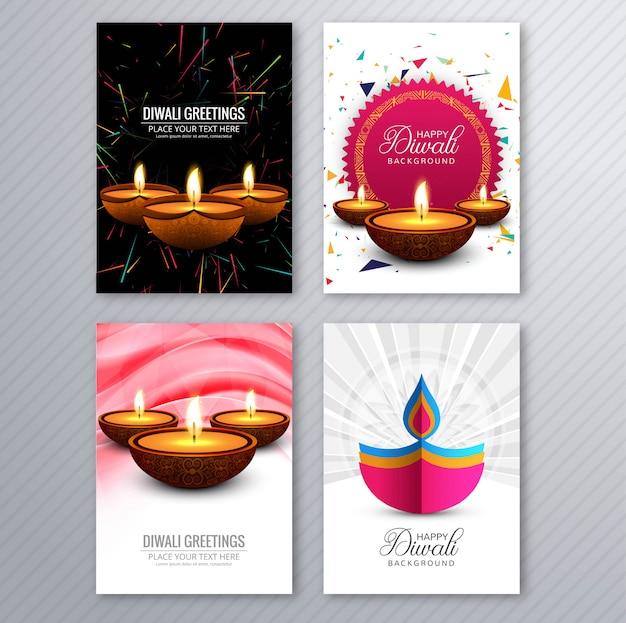 Feliz diwali colorido folleto plantilla colección vector