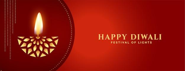 Feliz diwali creativo diya dorado en bandera roja