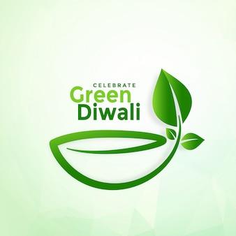 Feliz diwali creativo verde eco diya fondo