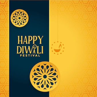 Feliz diwali decorativo diya fondo amarillo