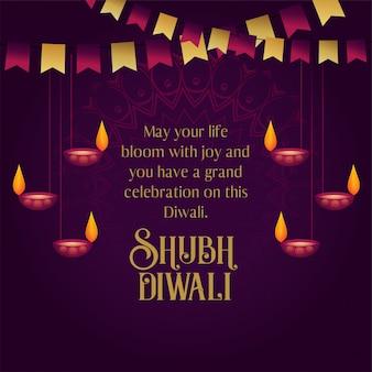 Feliz diwali desea tarjeta de felicitación con diya colgante