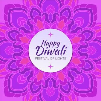 Feliz diwali dibujado a mano en tonos violetas