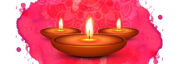 Feliz diwali diya aceite lámpara festival encabezado diseño