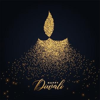 Feliz diwali diya diseño hecho con partículas brillantes.