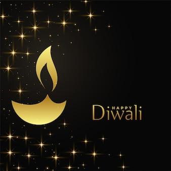 Feliz diwali diya dorado con fondo de destellos