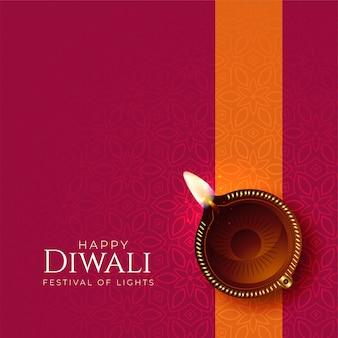 Feliz diwali diya fondo con decoración diya