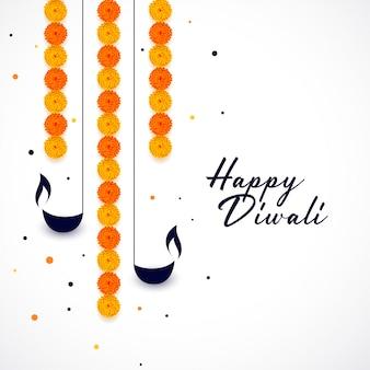 Feliz diwali diya y fondo de decoración de flores