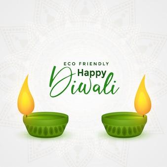 Feliz diwali festival ecológico diya