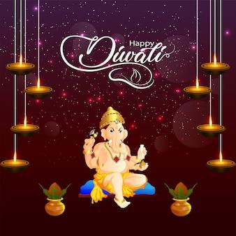 Feliz diwali el festival de la india con lord ganesha y kalash creativo.