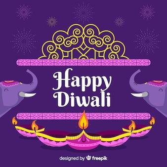 Feliz diwali fondo y elefantes