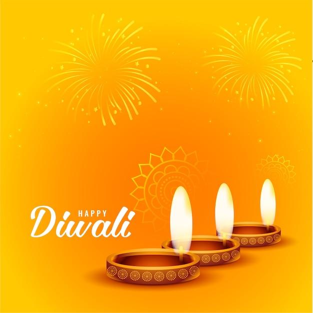 Feliz diwali fuegos artificiales y fondo diya