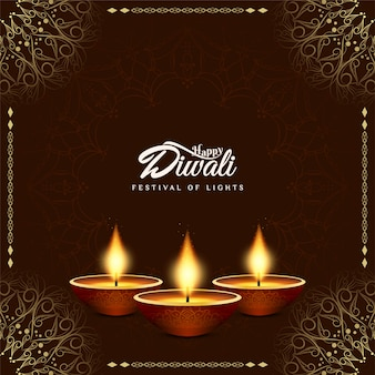 Feliz diwali hermoso fondo decorativo con lámparas de aceite.