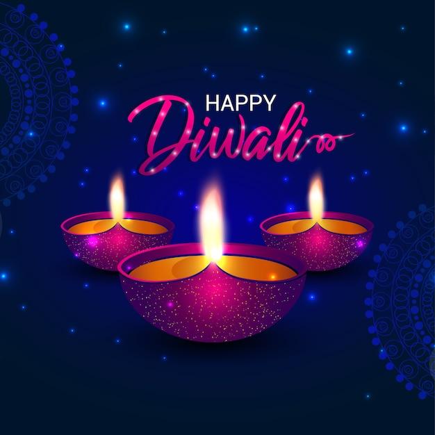 Feliz diwali indian deepavali festival hindú de diseño de plantilla de luces y lámpara de aceite