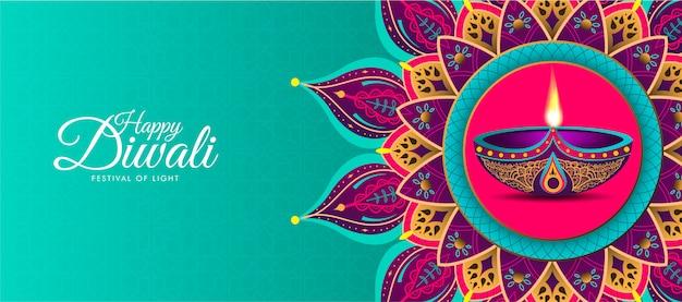 Feliz diwali con mandala colorido