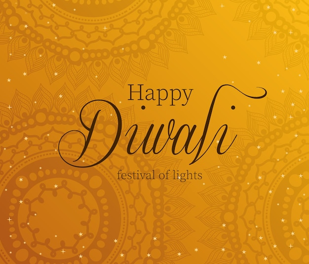 Feliz diwali en naranja con diseño de fondo de mandalas, tema festival de luces.
