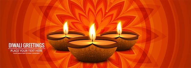 Feliz diwali tradicional festival indio colorido banner