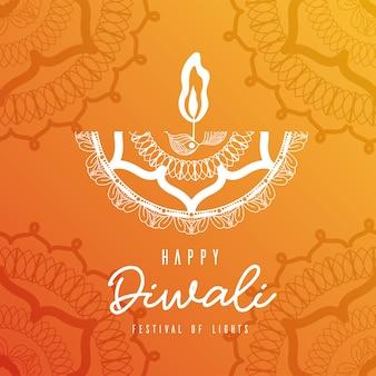 Feliz diwali vela mandala blanca sobre diseño de fondo naranja, tema festival de luces