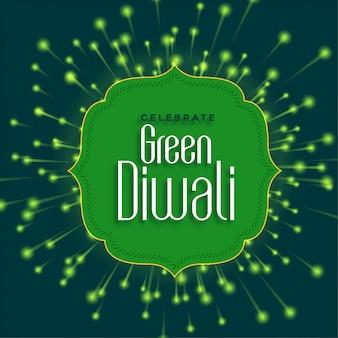 Feliz diwali verde con fuegos artificiales ecológicos