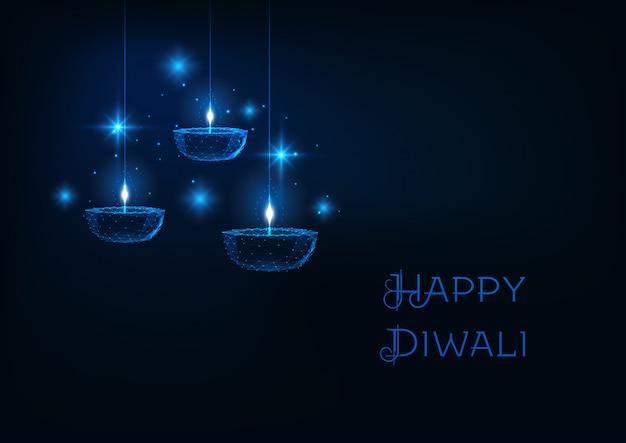 Feliz diwali web banner con lámpara de aceite futurista brillante bajo poligonal diya sobre fondo azul oscuro.