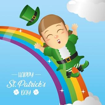 Feliz duende irlandés deslizándose sobre un arco iris, tarjeta de felicitación del día de san patricio