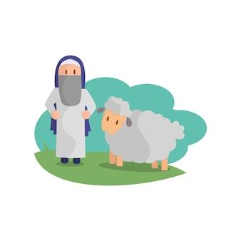 Feliz eid adha. celebración de la fiesta musulmana el sacrificio de una oveja