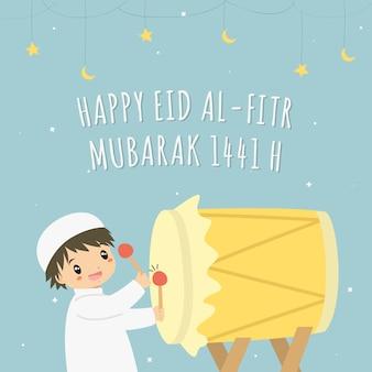 Feliz eid al-fitr 1441 h tarjeta vector. chico musulmán golpeando bedug color amarillo