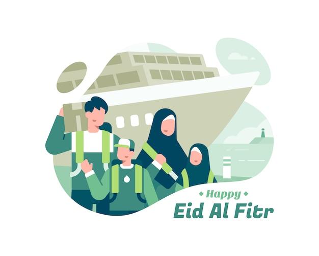 Feliz eid al fitr con la familia musulmana con ilustración de transporte de barco
