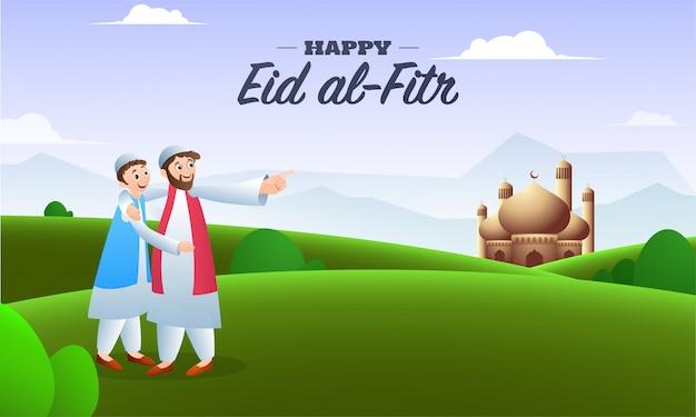 Feliz eid al-fitr mubarak, ilustración de los hombres árabes frente a la mezquita