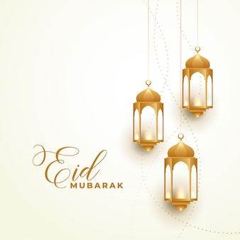 Feliz eid festival dorado lamparas