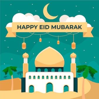 Feliz eid mubarak mezquita en la noche estrellada