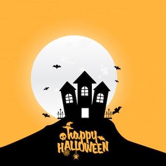 Feliz elemento de diseño de halloween con tipografía