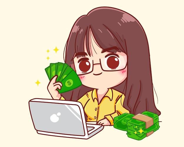 Feliz empresaria exitosa presumiendo con dinero, trabajando en la ilustración de dibujos animados en línea de la computadora portátil