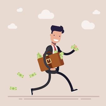 Feliz empresario o gerente se está ejecutando con una maleta llena de dinero. el concepto de robo o soborno. dibujos animados