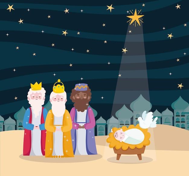 Feliz epifanía, tres reyes sabios, niño jesús paloma y estrella brillante en el cielo
