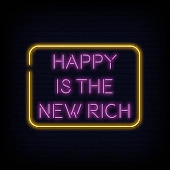 Feliz es el nuevo vector de texto de letreros de neón ricos