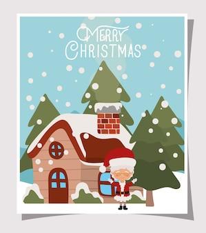 Feliz escena navideña con la esposa de santa claus